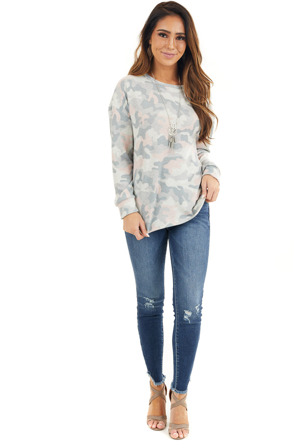 Sage Green Camo Super Soft Knit Top with Side Slits front full body