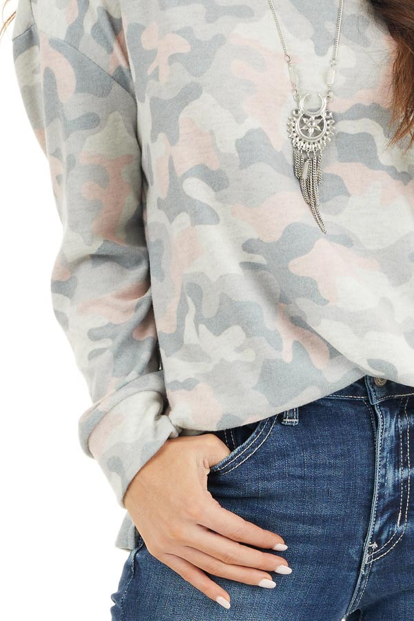 Sage Green Camo Super Soft Knit Top with Side Slits detail