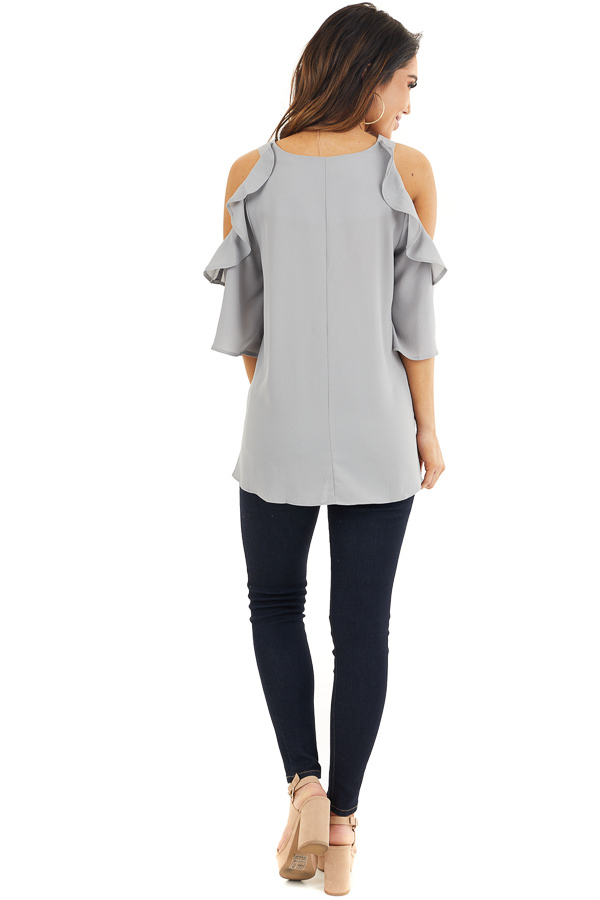 Dove Grey Cold Shoulder Blouse with Ruffle Details back full body