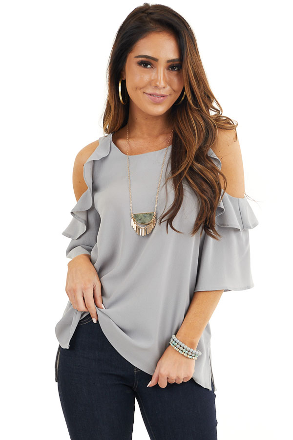 Dove Grey Cold Shoulder Blouse with Ruffle Details front close up