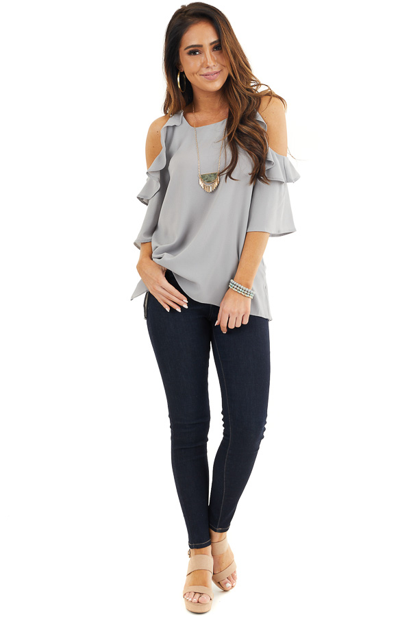 Dove Grey Cold Shoulder Blouse with Ruffle Details front full body