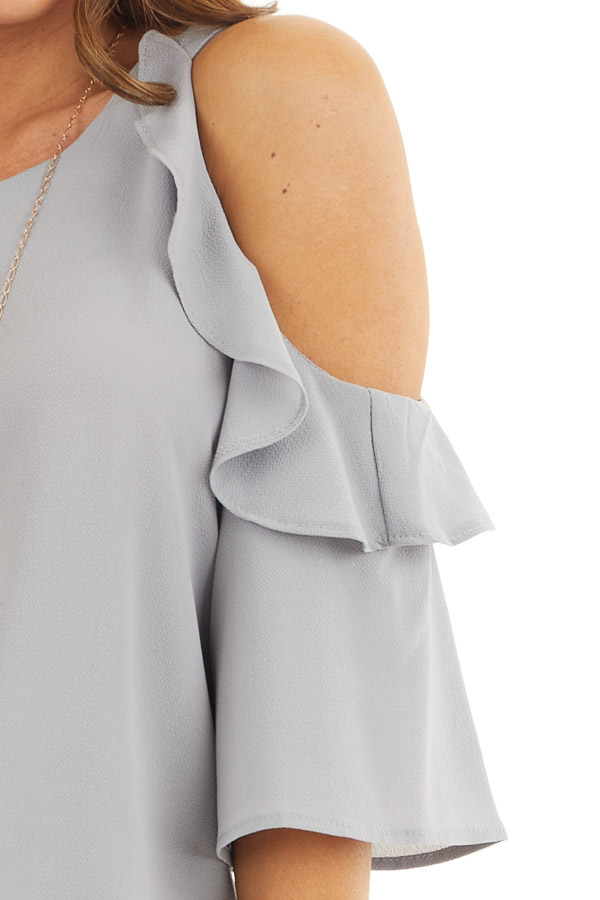 Dove Grey Cold Shoulder Blouse with Ruffle Details detail