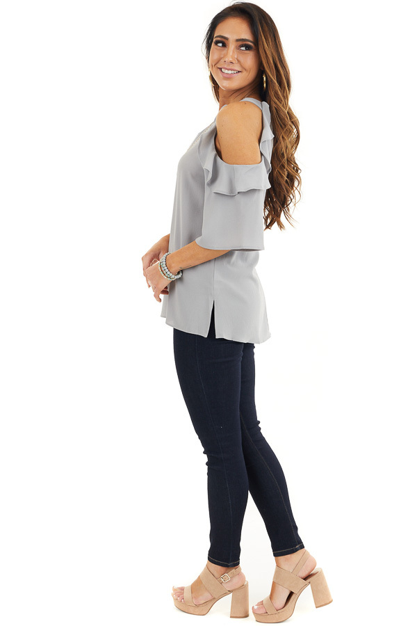 Dove Grey Cold Shoulder Blouse with Ruffle Details side full body