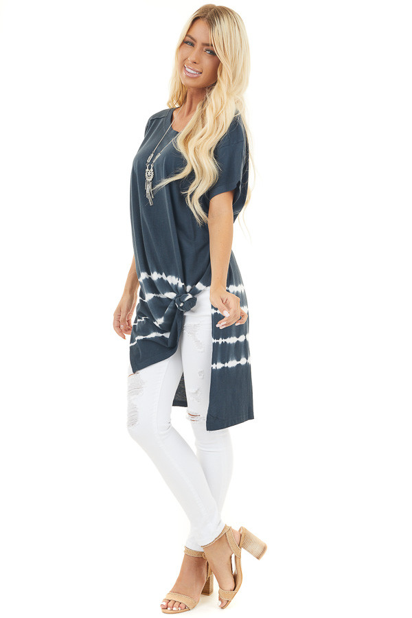 Navy Tie Dye Tunic Top with Short Sleeves and Side Slits