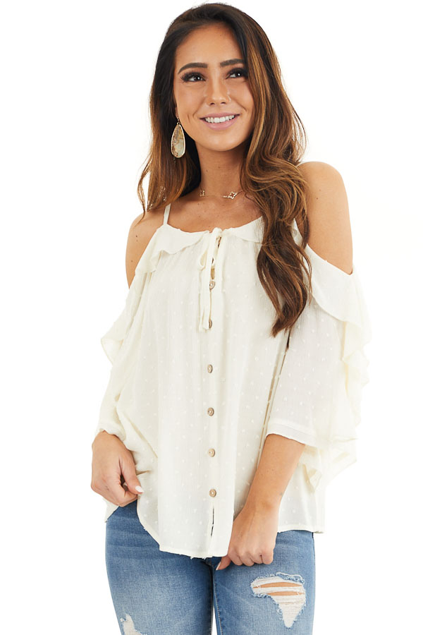 Cream Cold Shoulder Swiss Dot Blouse with Buttons and Tie front close up