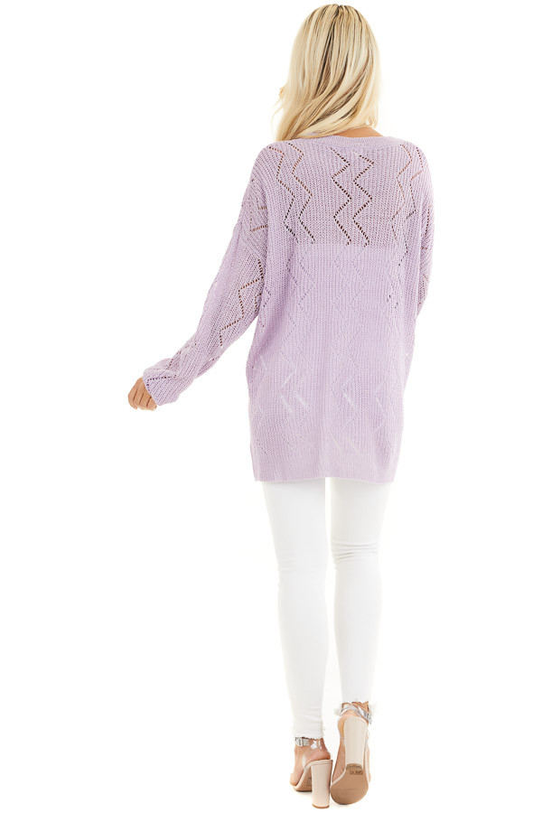Lilac Lightweight Zigzag Stitch Sweater Top with Side Slits back full body