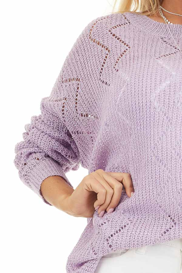 Lilac Lightweight Zigzag Stitch Sweater Top with Side Slits detail