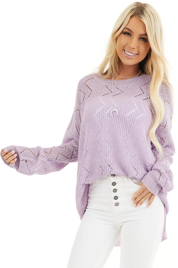 Lilac Lightweight Zigzag Stitch Sweater Top with Side Slits front close up