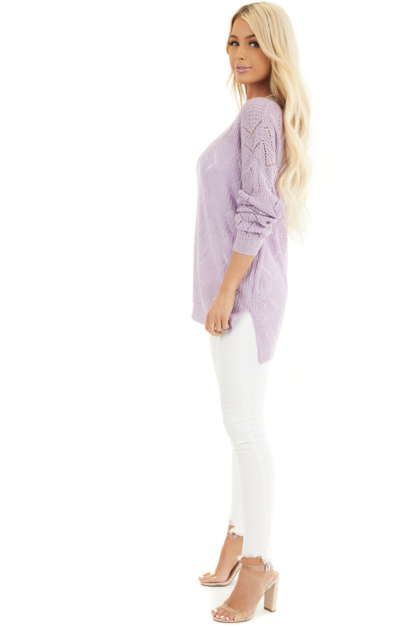 Lilac Lightweight Zigzag Stitch Sweater Top with Side Slits side full body