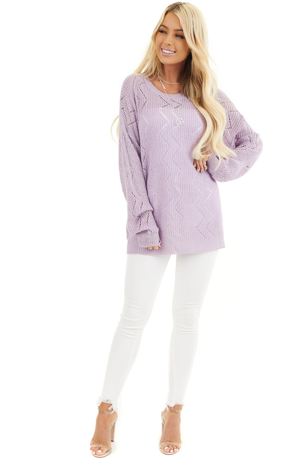 Lilac Lightweight Zigzag Stitch Sweater Top with Side Slits front full body