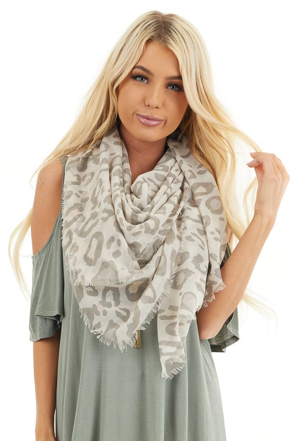 Khaki Leopard Print Scarf with Glitter and Frayed Edges
