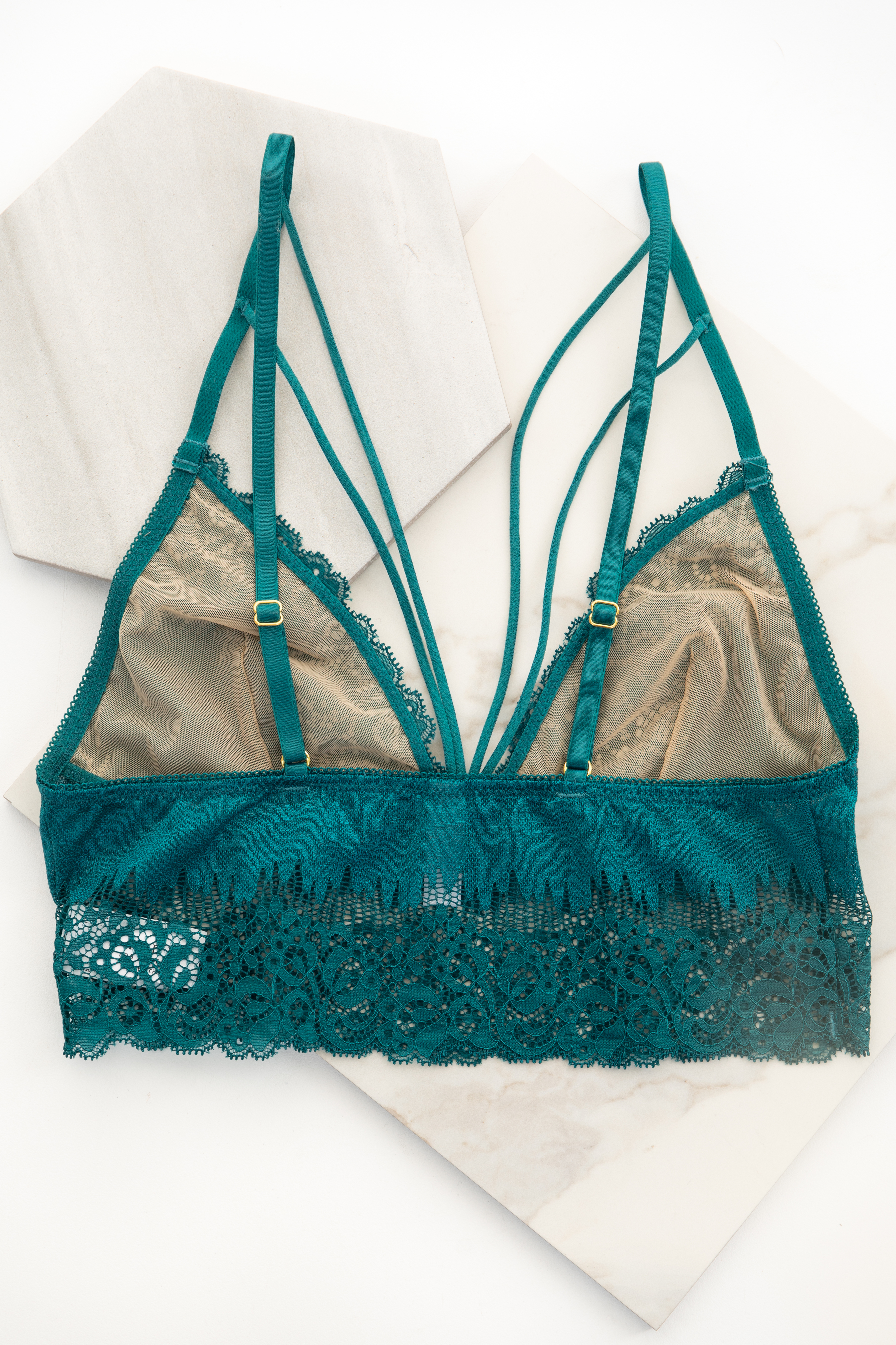 Pine Green Lace Strappy Bralette with Adjustable Straps