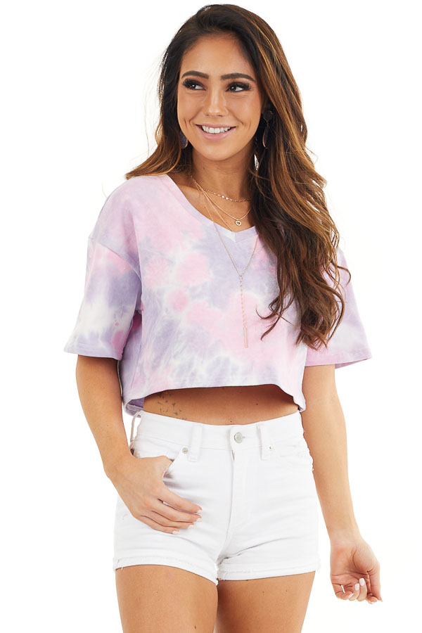 Lilac Tie Dye V Neck Crop Top with Short Sleeves front close up