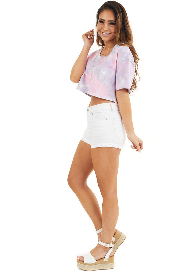Lilac Tie Dye V Neck Crop Top with Short Sleeves side full body