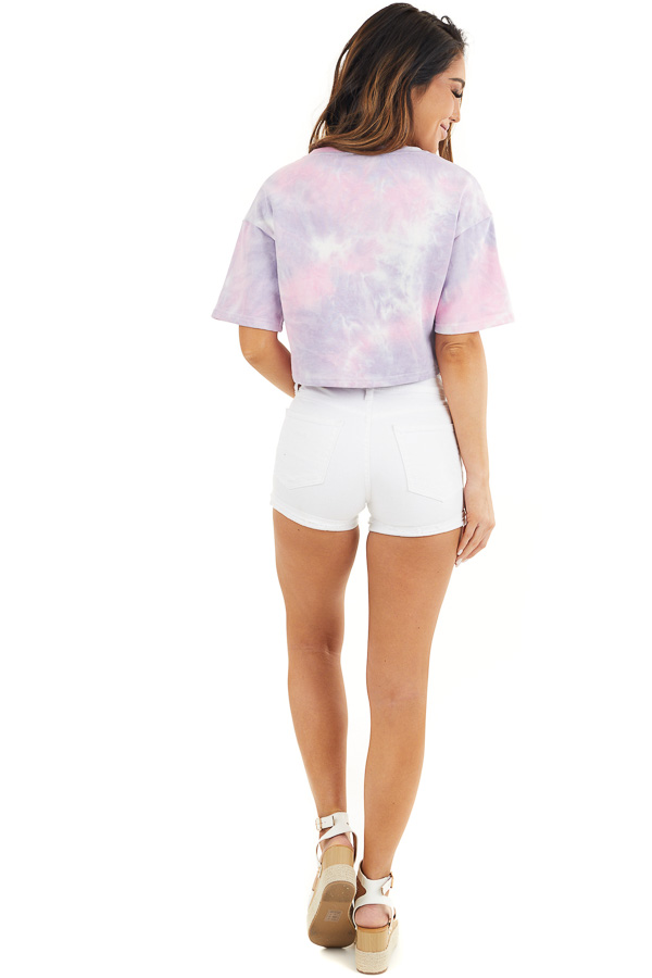 Lilac Tie Dye V Neck Crop Top with Short Sleeves back full body
