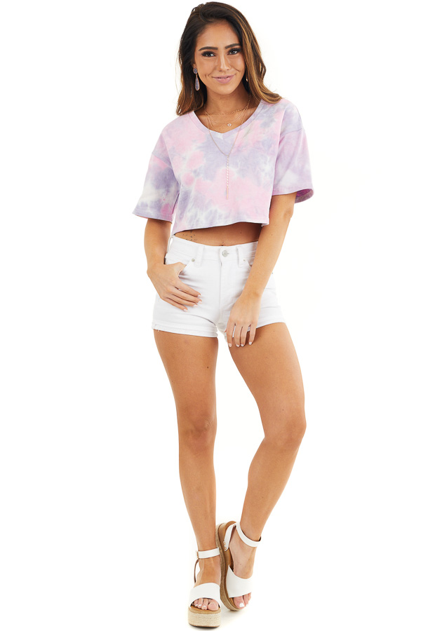 Lilac Tie Dye V Neck Crop Top with Short Sleeves front full body