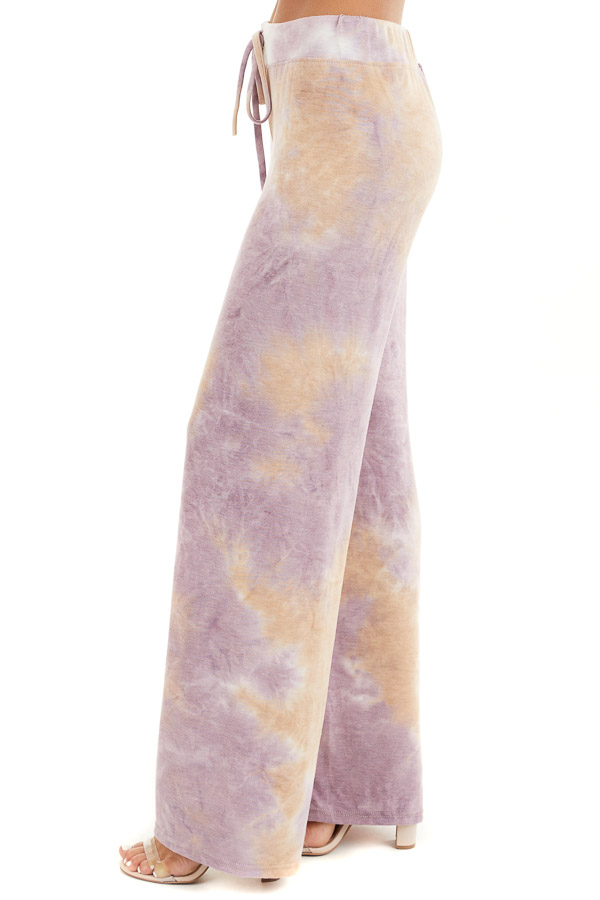 Lilac and Beige Tie Dye Wide Leg Lounge Pants with Tie side view