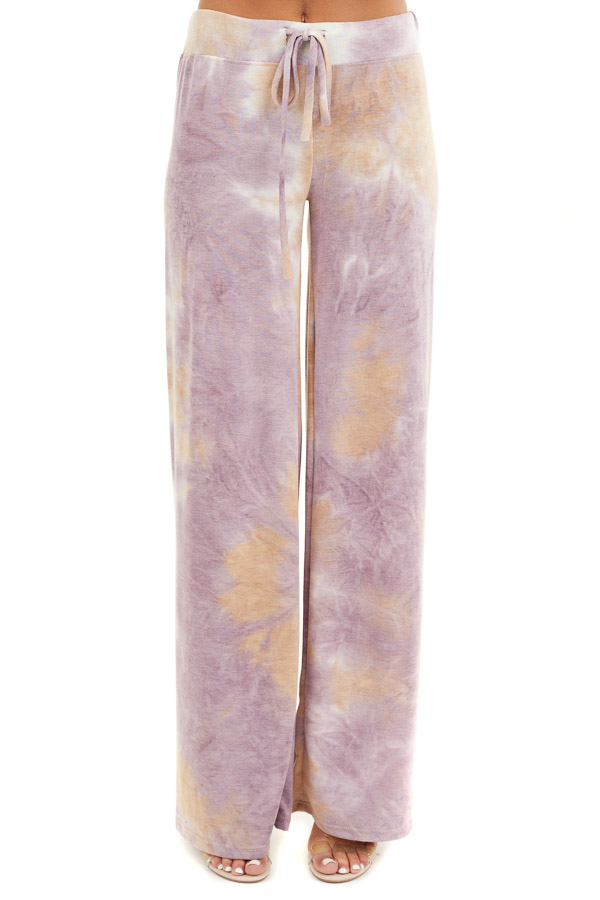 Lilac and Beige Tie Dye Wide Leg Lounge Pants with Tie front view