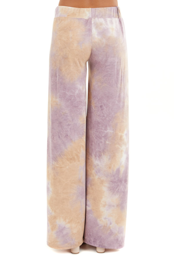 Lilac and Beige Tie Dye Wide Leg Lounge Pants with Tie back view