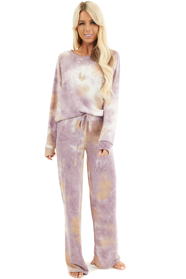 Lilac and Beige Tie Dye Wide Leg Lounge Pants with Tie front full body