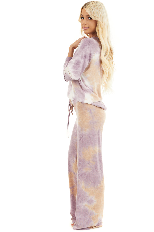 Lilac and Beige Tie Dye Wide Leg Lounge Pants with Tie side full body