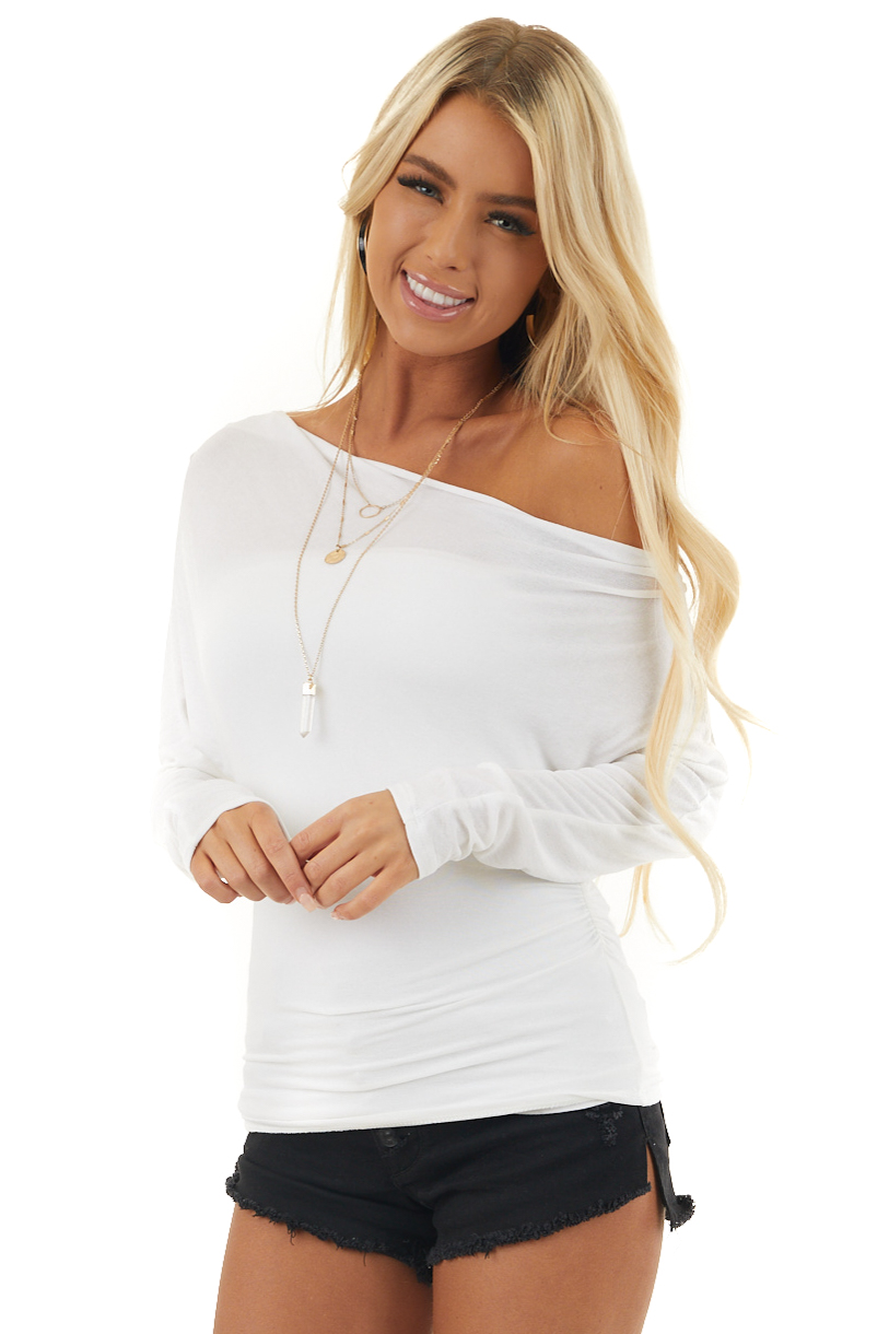 Ivory Off the Shoulder Long Sleeve Top with Side Ruching