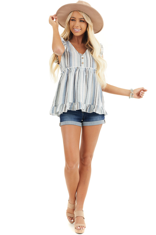 Dusty Blue Striped Babydoll Top with Button Detail front full body