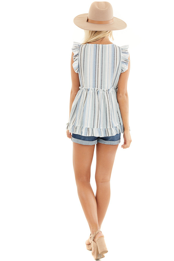 Dusty Blue Striped Babydoll Top with Button Detail back full body