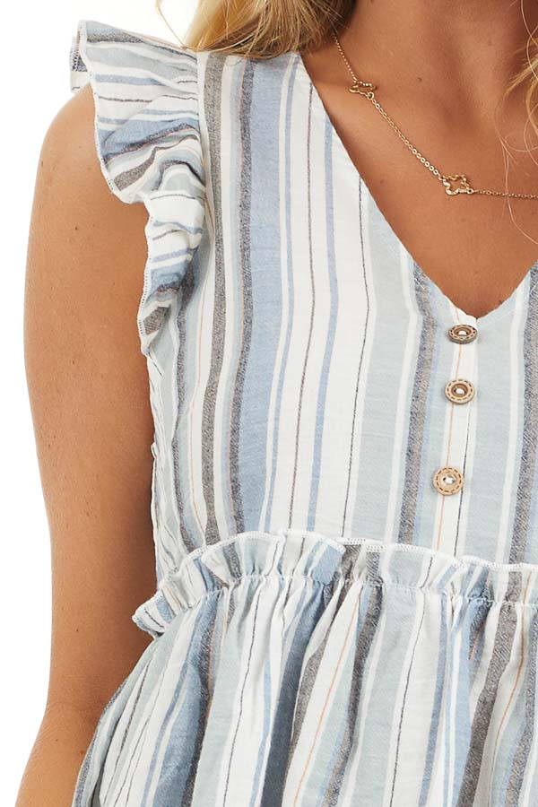 Dusty Blue Striped Babydoll Top with Button Detail detail