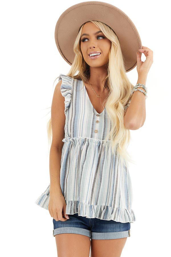 Dusty Blue Striped Babydoll Top with Button Detail front close up