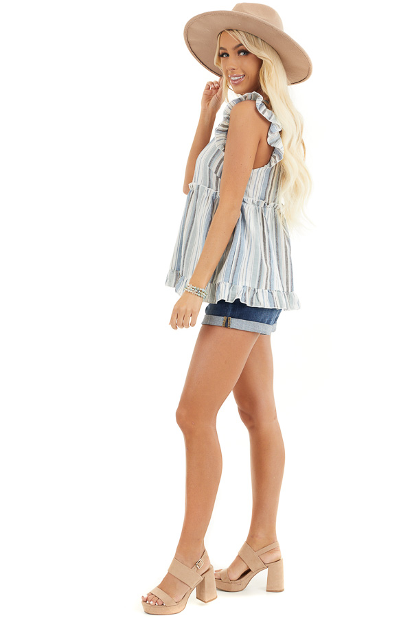 Dusty Blue Striped Babydoll Top with Button Detail side full body