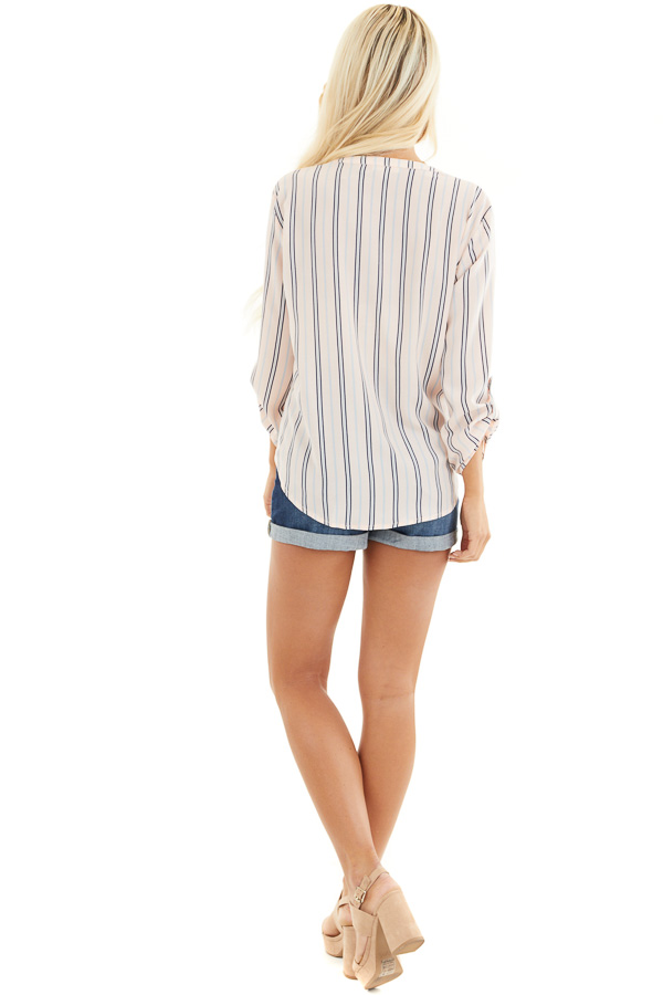 Blush Pink Striped Long Sleeve Top with Front Tie Detail back full body