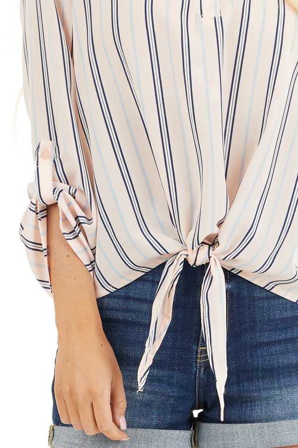 Blush Pink Striped Long Sleeve Top with Front Tie Detail detail