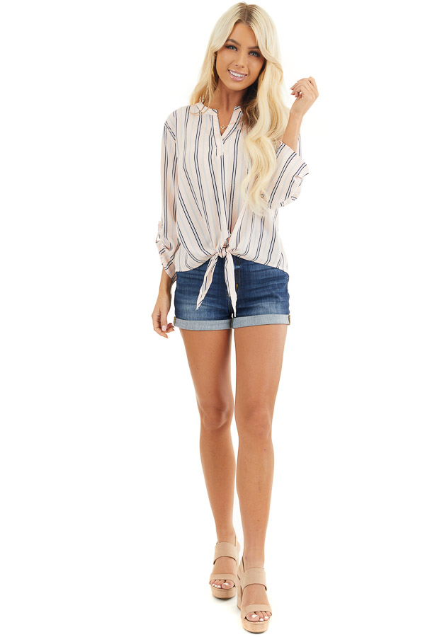 Blush Pink Striped Long Sleeve Top with Front Tie Detail front full body