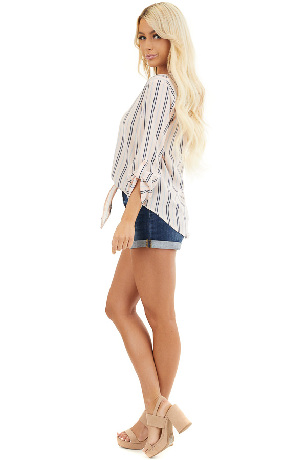 Blush Pink Striped Long Sleeve Top with Front Tie Detail side full body