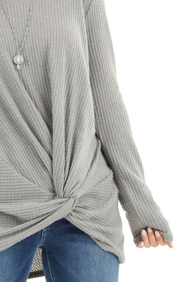 Dove Grey Scoop Neck Knit Top with Front Knot Detail detail