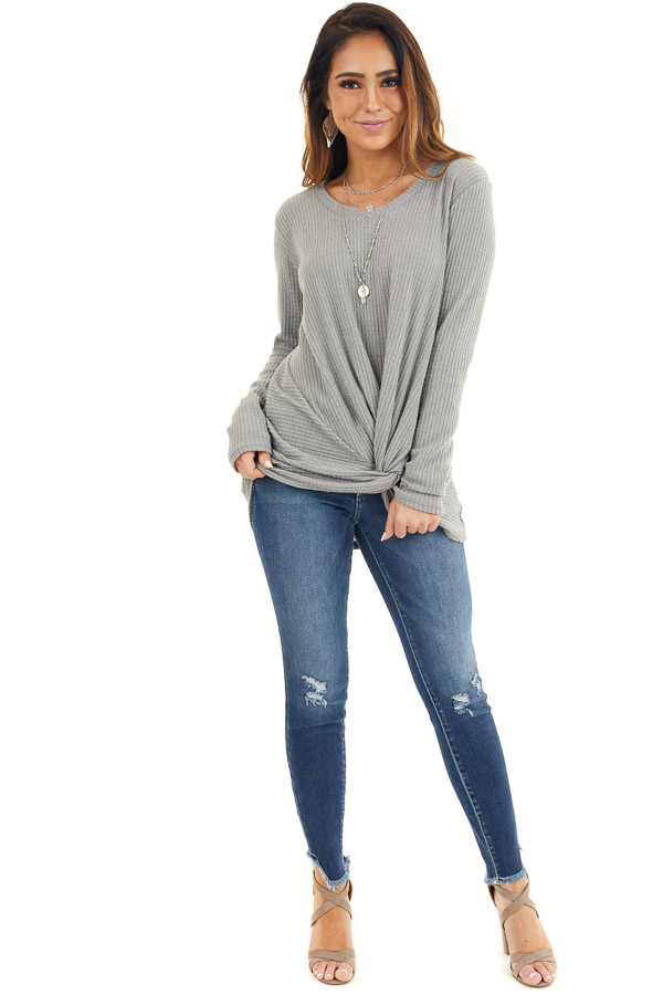 Dove Grey Scoop Neck Knit Top with Front Knot Detail front full body
