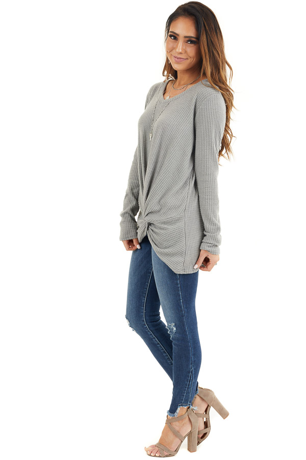 Dove Grey Scoop Neck Knit Top with Front Knot Detail side full body