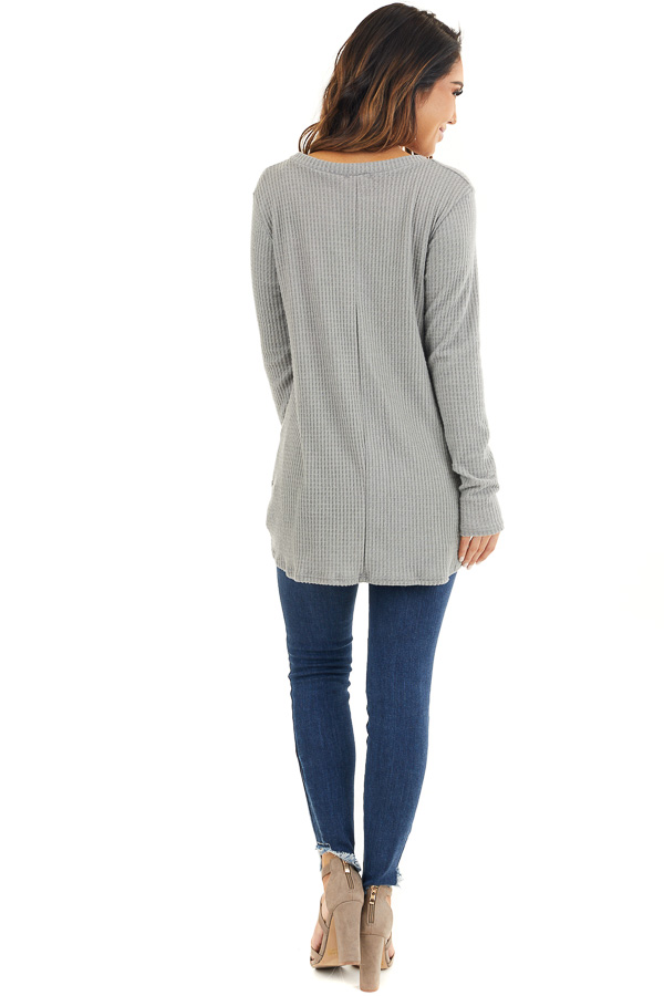 Dove Grey Scoop Neck Knit Top with Front Knot Detail back full body