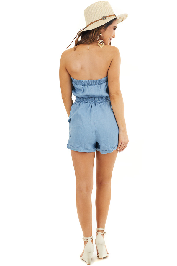 Denim Blue Strapless Romper with Pockets and Drawstring back full body