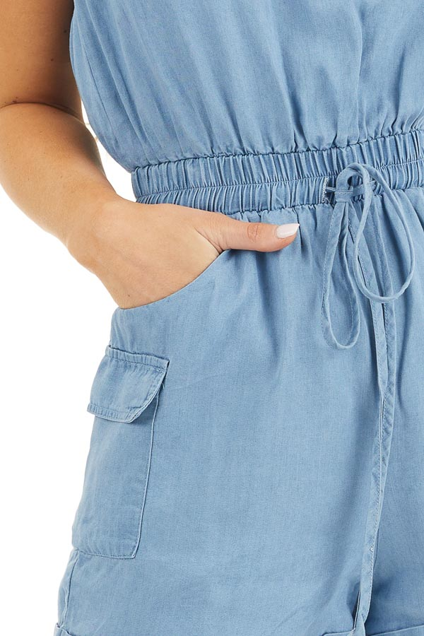 Denim Blue Strapless Romper with Pockets and Drawstring detail