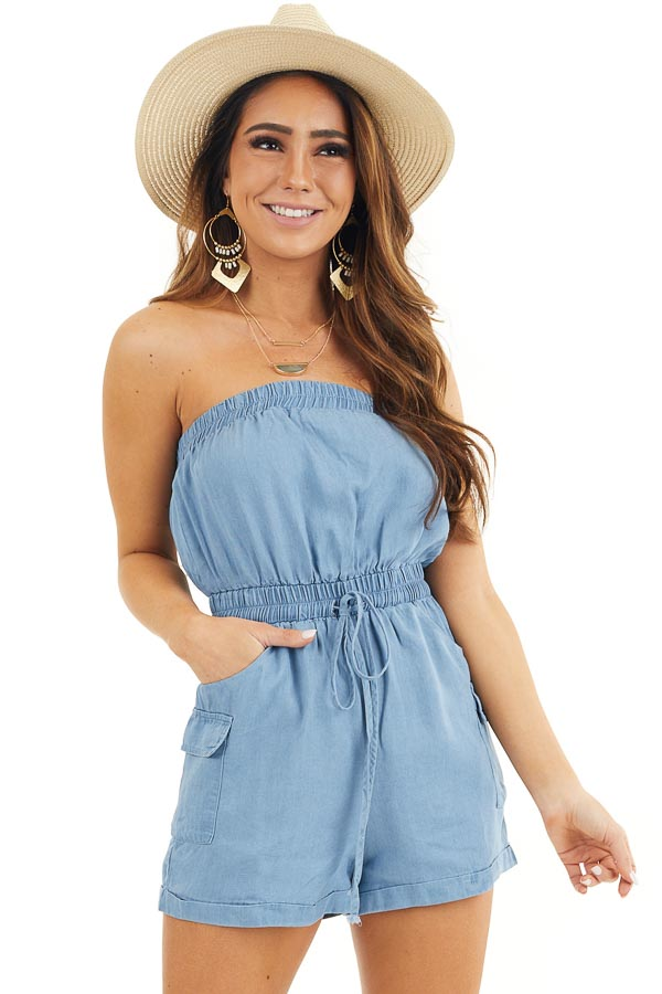 Denim Blue Strapless Romper with Pockets and Drawstring front close up