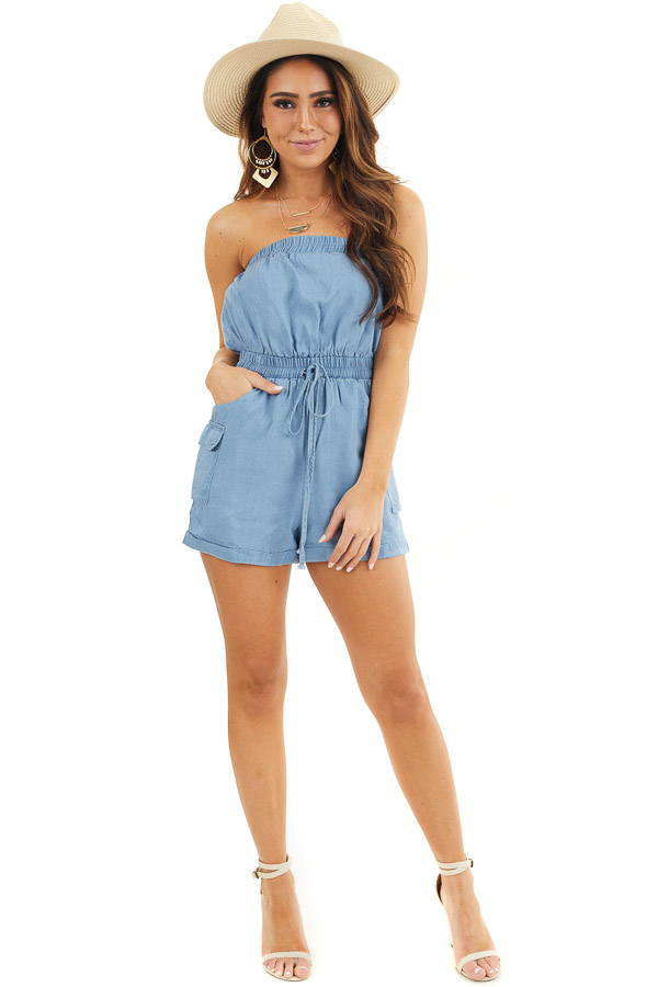 Denim Blue Strapless Romper with Pockets and Drawstring front full body