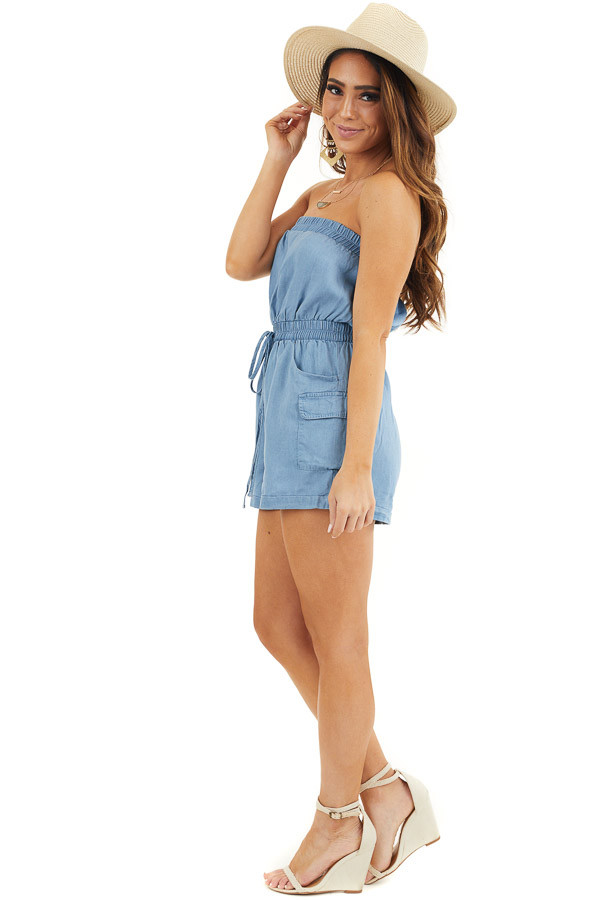Denim Blue Strapless Romper with Pockets and Drawstring side full body