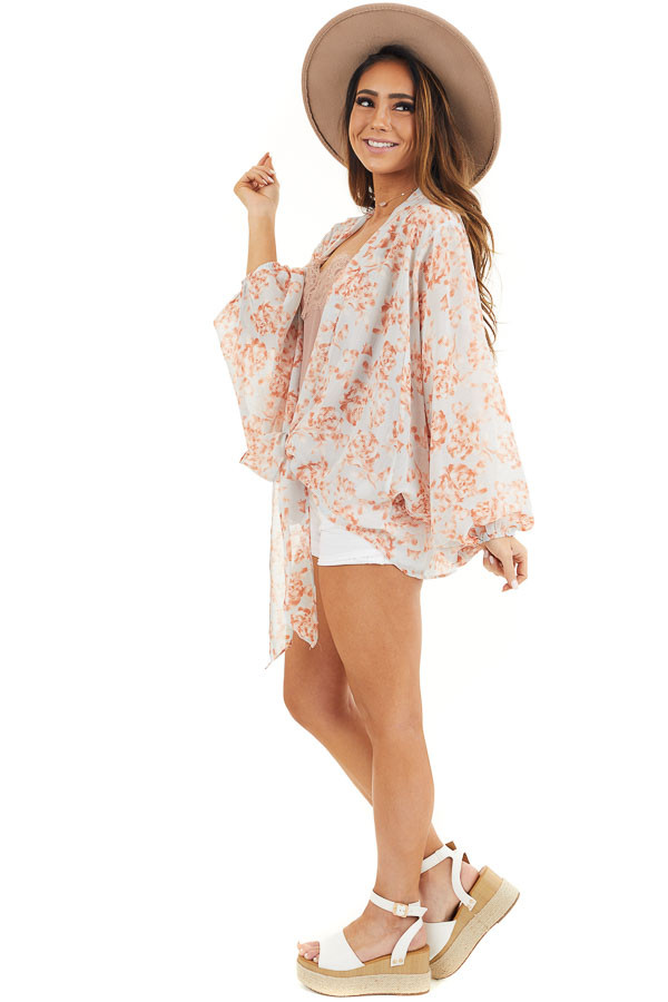 Baby Blue and Salmon Floral Print Sheer Kimono with Tie side full body