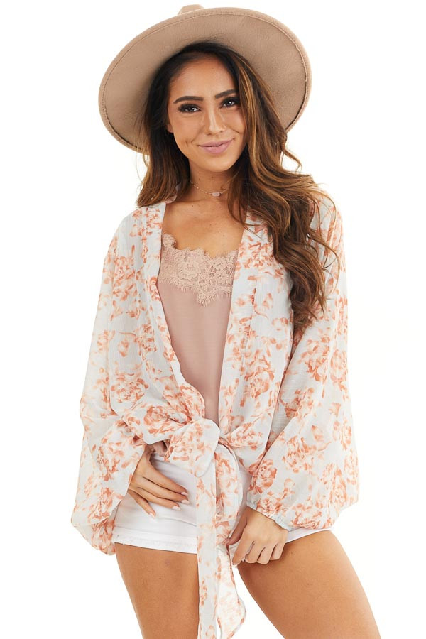 Baby Blue and Salmon Floral Print Sheer Kimono with Tie front close up