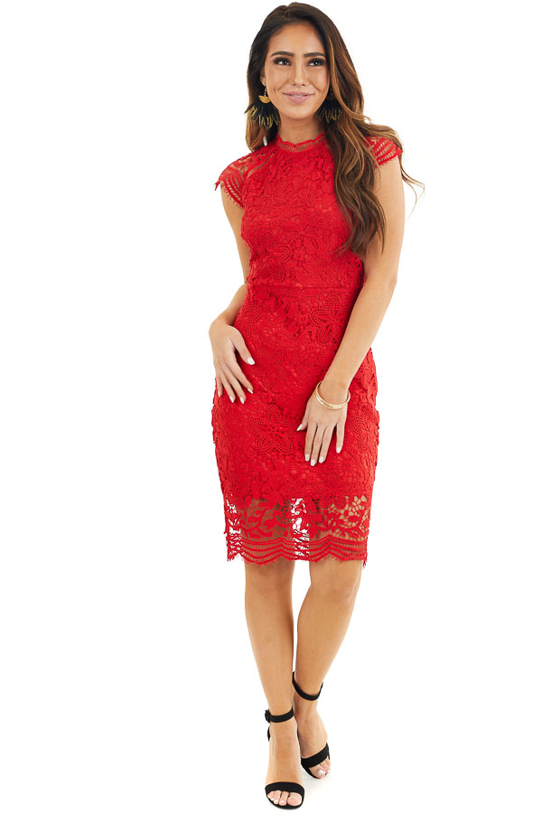 Lipstick Red Crochet Lace Mini Dress with Scalloped Hemline front full body