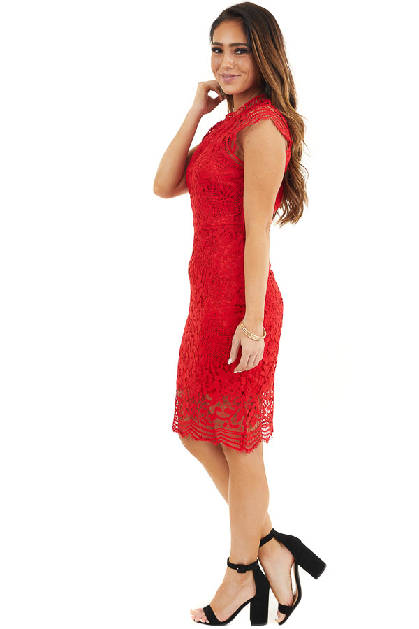 Lipstick Red Crochet Lace Mini Dress with Scalloped Hemline side full body