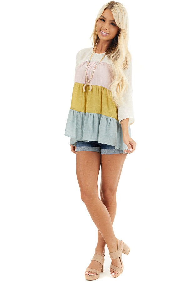 Ivory Multicolor Colorblock 3/4 Sleeve Tiered Peasant Top front full body
