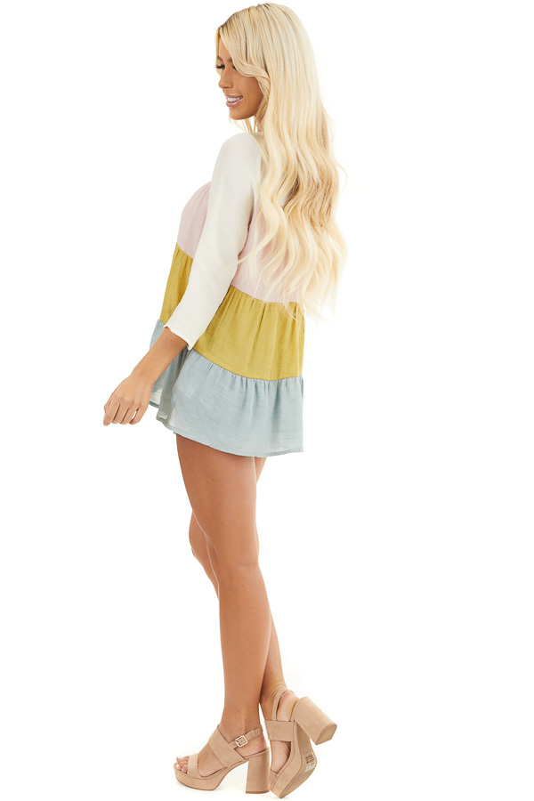Ivory Multicolor Colorblock 3/4 Sleeve Tiered Peasant Top side full body
